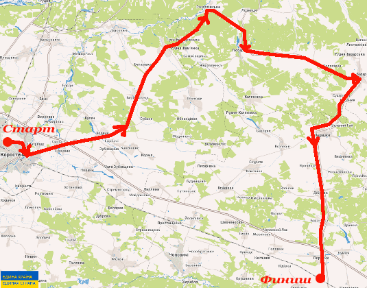 100 км за день по маршруту Коростень — Великие Клещи — Базар — Пирожки — Коростень
