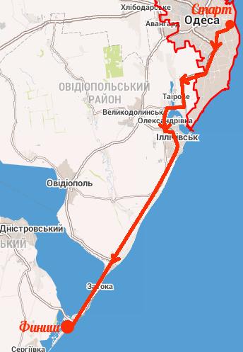 Сольный велопробег в 70км по маршруту Одесса — Ильичёвск — Затока